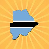 Botswana map flag on sunburst vector illustration