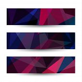 Abstract triangles banners set - raster version
