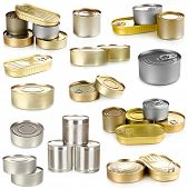 stock photo of hermetic  - Collage of tin cans with food isolated on white - JPG