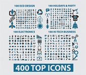 400 icons: website, internet, design, business, office, travel, media, holidays, nature, ecology. ve
