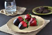 Chocolate Strawberries On Dark Background