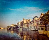 Vintage retro hipster style travel image of romantic India luxury tourism concept background - Udaip