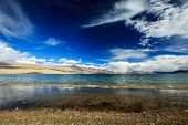 stock photo of wetland  - Himalayan mountain lake in Himalayas Tso Moriri  - JPG