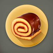 stock photo of fancy cakes  - Chocolate roll cake - JPG