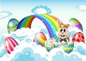 Illustration of a king bunny at the sky with Easter eggs near the rainbow