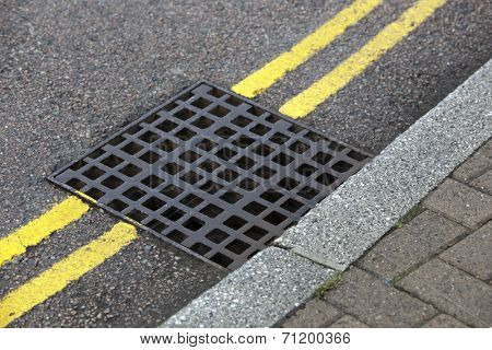 Street drain over Double yellow line on street