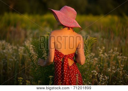 Elegant Woman In A Hat Among Wildflowers At Sunset