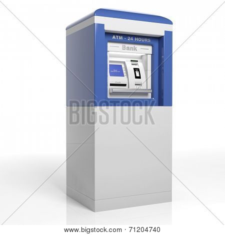 Atm machine isolated on white background