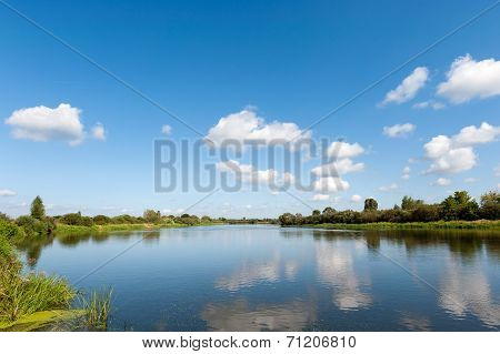 River With Clouds Reflection