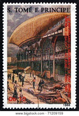 Postage Stamp Sao Tome And Principe 1988 Airship Le Jeune