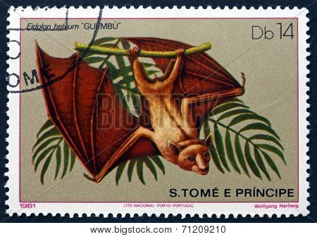 Postage Stamp Sao Tome And Principe 1981 Straw-coloured Fruit Ba