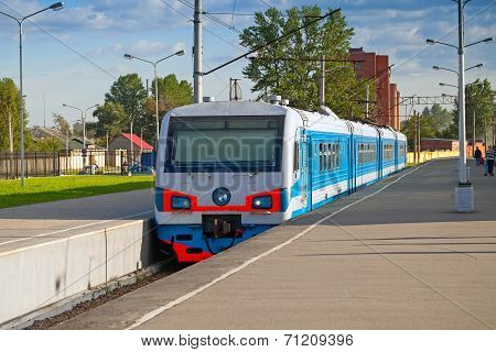 Modern Suburban Electric Train Standing At The Station