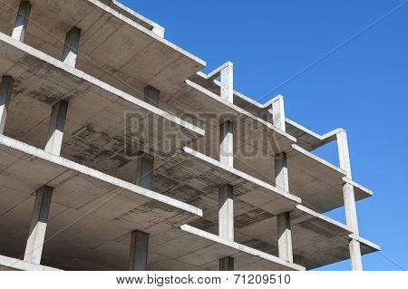 Abstract Modern Architecture And Sky, Concrete Floors Is Under Construction