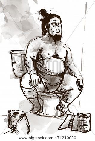 Sumo Fighter On The Toilet Bowl