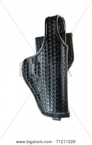 Generic police style black leather holster for a semi-automatic handgun, a part of an officers Duty belt,  isolated on white