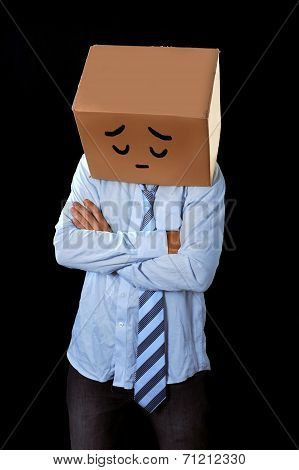 Messy Business Man With Carboard Box On Head Sad Expression Draw