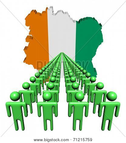 Lines of people with Ivory Coast map flag illustration