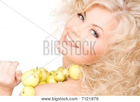 Happy Woman With Green Apples