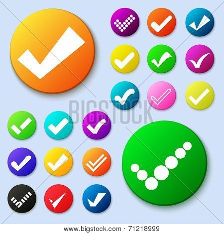 Set of different vector simple circle shape internet button