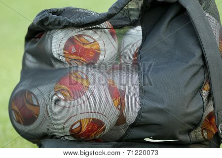 Europa League Balls In Sack During Paok Training In Thessaloniki, Greece.