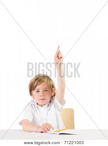 Eager student asking a question on white background