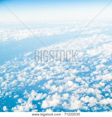 Sky. View From Window Of Airplane Flying In Clouds
