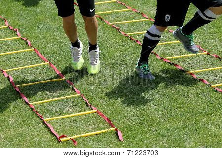 Close Up To Feet During Training Exercise Of Team Paok In Thessaloniki, Greece.