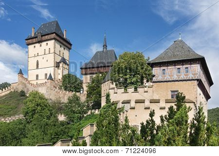 View of the castle Karlstejn, Czech republic. Built by Holy Roman Emperor Charles IV. in the 14th century.