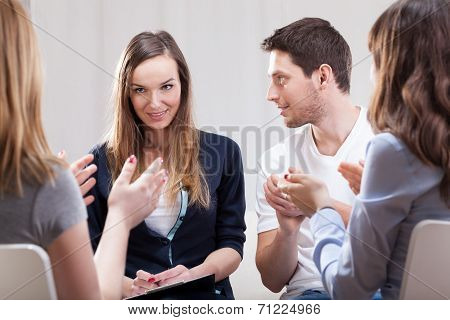 Woman Talking About Her Life On Group Therapy