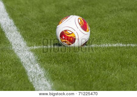 Europa League Ball On The Field During The Training Of Paok In Thessaloniki, Greece.