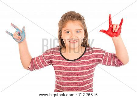 Little Girl Doing The Rock And Roll Sign