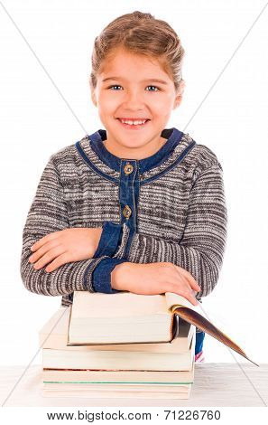 Cute Girl With Pile Of Big Books