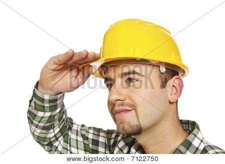 Worker Looking Forward