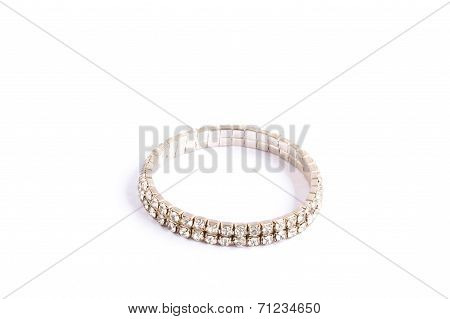 Diamond Bracelet Isolated On White.