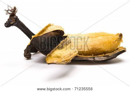 Peeled Overripe Banana On A White Background