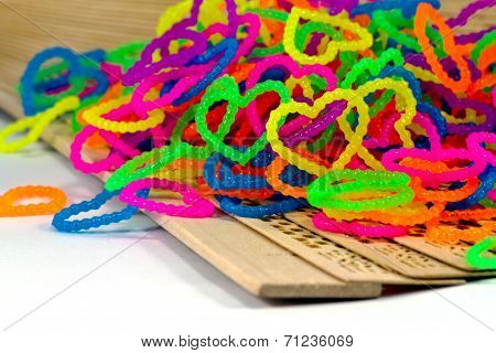 Close Up Of Color Full Elastic Love Heart Shape Loom Bands Rainbow Color Full
