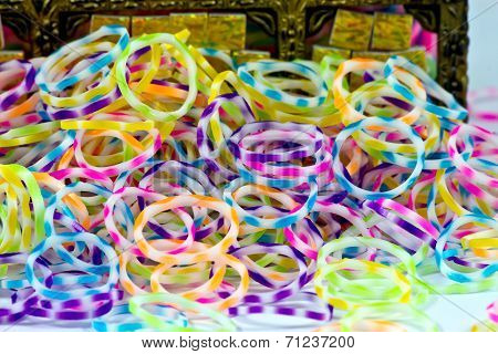 Close Up Of Color Full Elastic  Loom Bands Rainbow Color Full