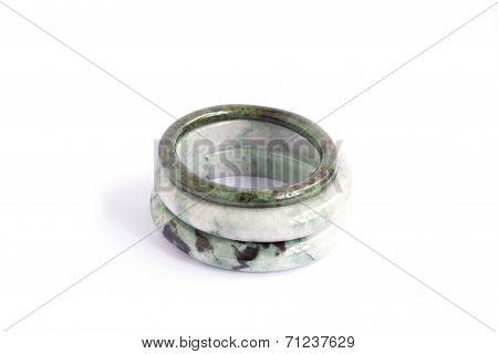 Jade Bracelet On Isolated White  Background.