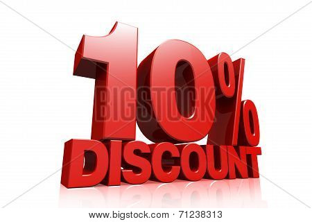 3D Render Red Text 10 Percent Discount