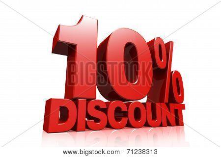 3D Render Red Text 10 Percent Discount
