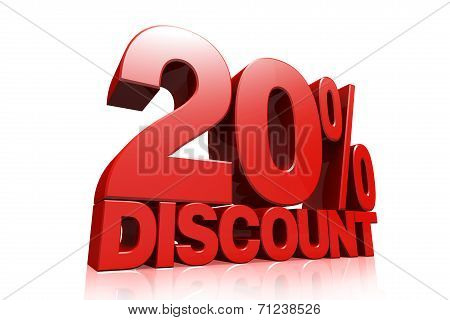 3D Render Red Text 20 Percent Discount