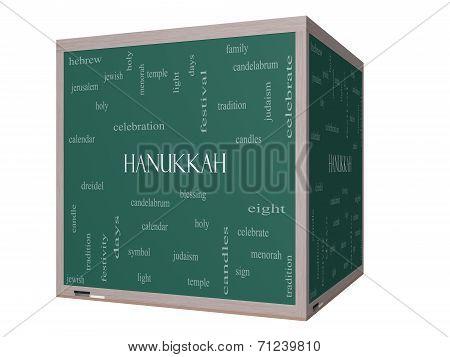 Hanukkah Word Cloud Concept On A 3D Cube Blackboard