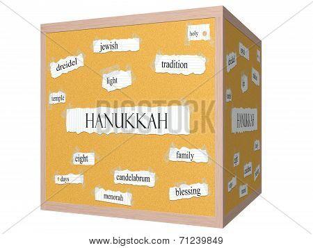 Hanukkah 3D Cube Corkboard Word Concept