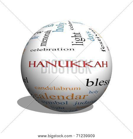 Hanukkah 3D Sphere Word Cloud Concept