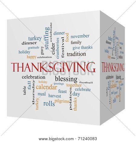 Thanksgiving 3D Cube Word Cloud Concept