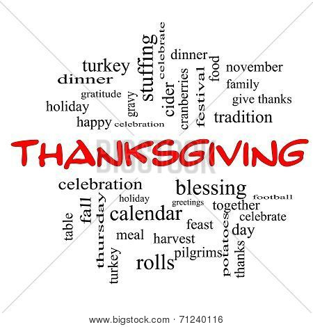 Thanksgiving Word Cloud Concept In Red Caps