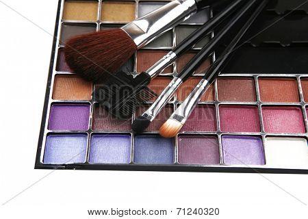 eyeshadow kit for make-up over white background