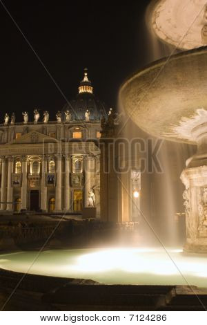 Rome - Fountain and st. Peters basilica in night
