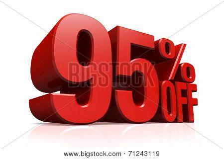 3D Render Red Text 95 Percent Off.