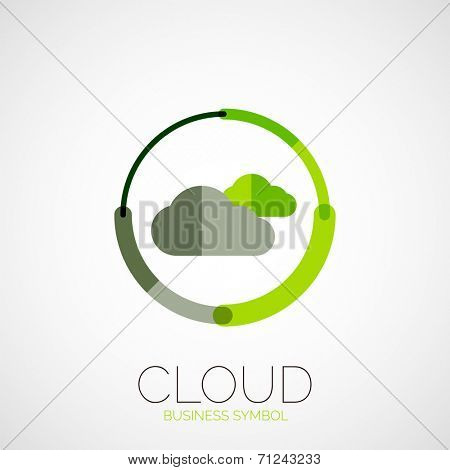 Cloud storage, company logo, business symbol concept, minimal line style